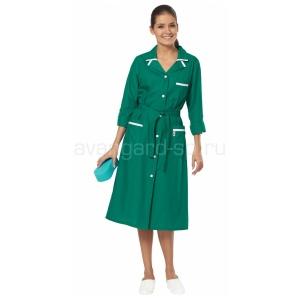 Халат женский Уют зелёный+белый