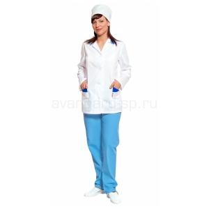 Костюм женский Алена белый+голубой