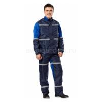 Костюм мужской Автотехник с полукомбинезоном синий+васильковый